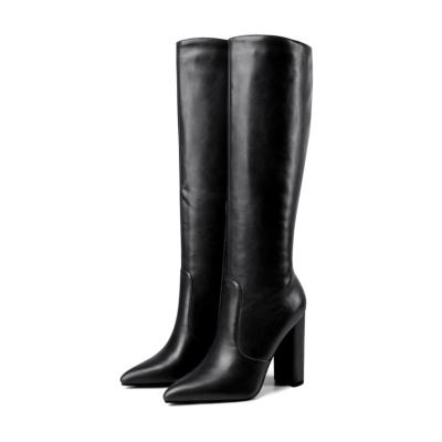 Black Waterproof Side Zipper Heeled Knee High Boots Riding Boot