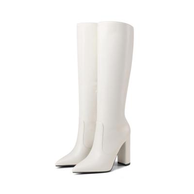 White Waterproof Side Zipper Heeled Knee High Boots Riding Boot