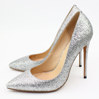 Sliver Glitter Wedding 2021 Stiletto High Heel Pointed Toe Pumps Shoes
