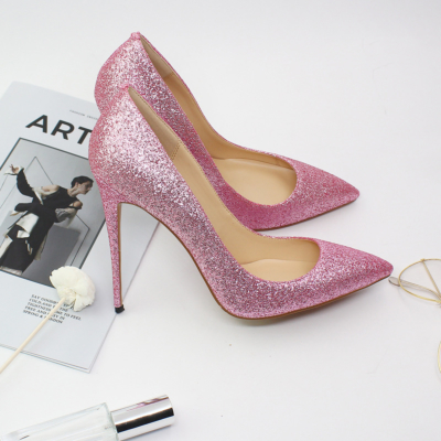 Pink Glitter Wedding 2021 Glitter Stiletto High Heel Pointed Toe Pumps Shoes