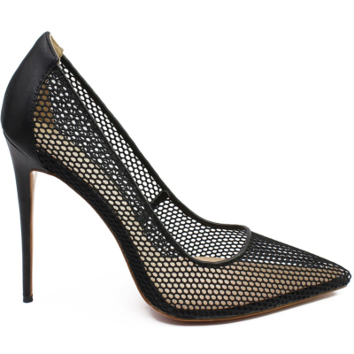 Black Wedding 2021 Mesh Hollow Out High Heel Pointed Toe Pumps Shoes