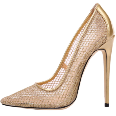Gold Wedding 2021 Mesh Hollow Out High Heel 5 inch Pointed Toe Pumps Shoes