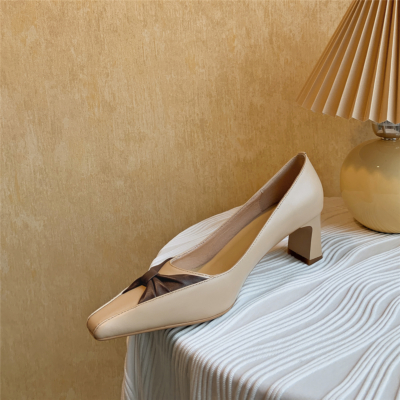 Nude Wedding Leather Bow Pumps Medium Heel Shoes with Square Toe