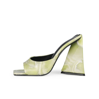 Wedding Marbling High Block Heel Mule Sandals with Square Toe