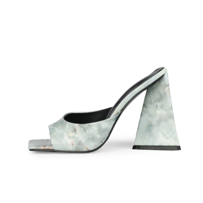 Light Grey Wedding Marble High Block Heel Mule Sandals with Square Toe