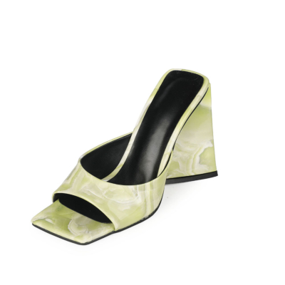 Green Wedding Marbling High Block Heel Mule Sandals with Square Toe