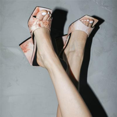 Wedding Marbling High Block Heel Mule Sandals with Square Toe