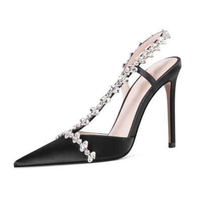 Black Wedding Satin Crystal Cross Strap Heeled Sandals Closed Toe Bridal Slingback Shoes
