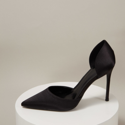 Black Wedding Satin D'orsay Stiletto Heel Pointed Toe Pumps