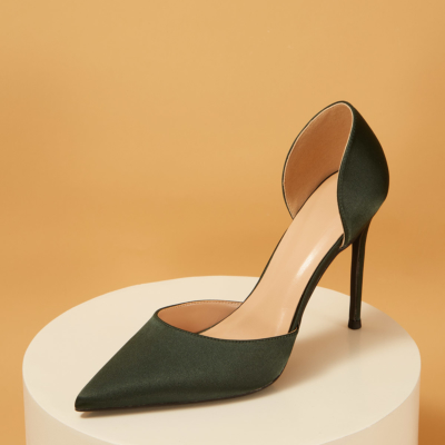 Green Wedding Satin D'orsay Stiletto Heel Pointed Toe Pumps