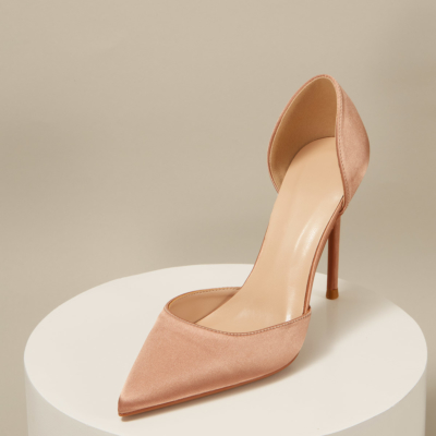 Wedding Satin D'orsay Stiletto Heel Pointed Toe Pumps