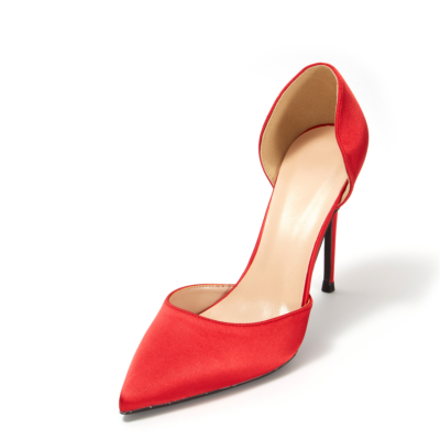 Red Wedding Satin D'orsay Stiletto Heel Pointed Toe Pumps