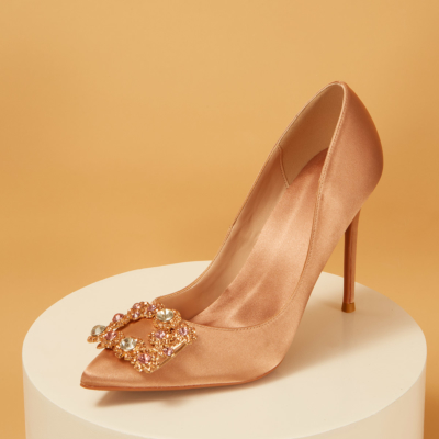 Wedding Satin Pointed Toe Rhinestones Buckle Stiletto Heel Pumps