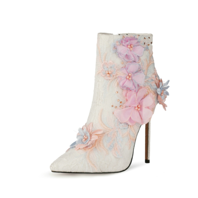 White Lace Floral Pointed Toe Wedding Ankle Boots with Stiletto High Heels