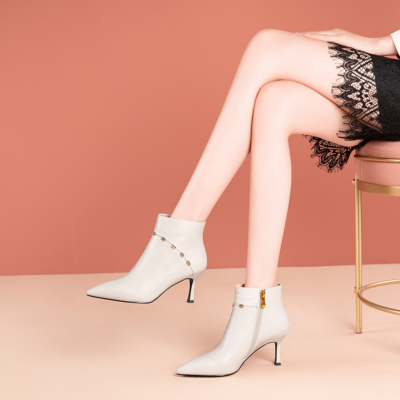 White Leather Spool Heel Zip Office Stiletto Ankle Boots