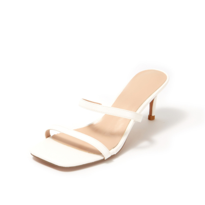 White Matte Square Toe Double Strap Mule Low Heeled Sandals