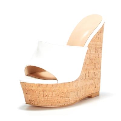 White Slide Wedge Heel Beach Sandals Wooden Heeled Mules Shoes