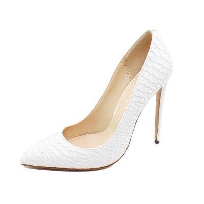 White Snakeskin Prints Stiletto High Heel Pumps Pointed Toe Party Shoes