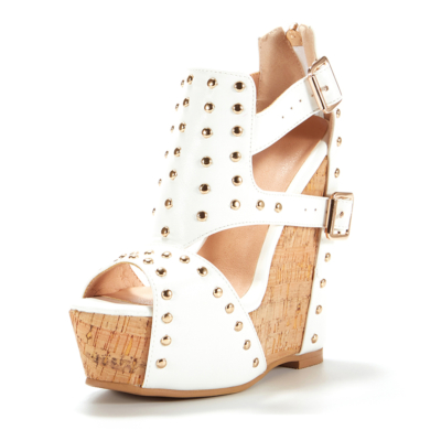 White Studded Cut Out Wedge Sandals Platform Shoes with Buckle