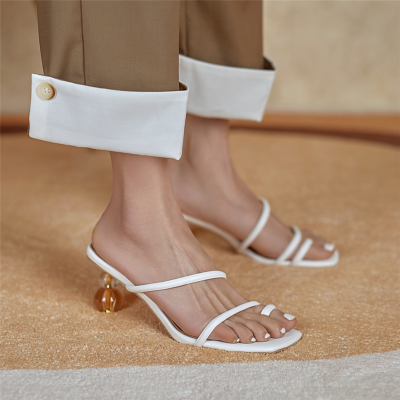 White Transparent Round Heel Sandals Toe Ring Strappy Slide Sandals