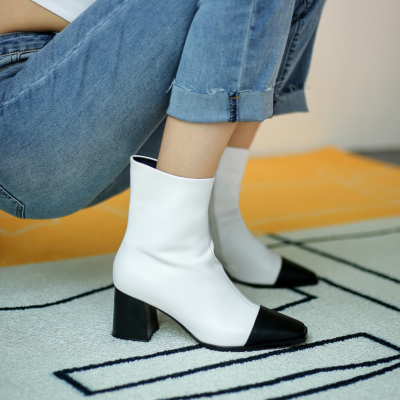 White Women Leather Square Toe Block Heel Ankle Boot