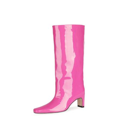 Wide Calf Knee High Boot Square Toe Shiny Pu Dresses Boots Mid Heels