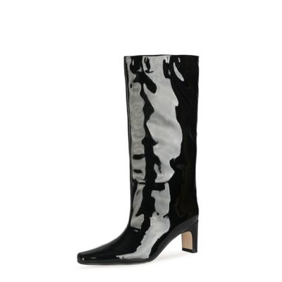 Black Wide Calf Knee High Boot Square Toe Shiny Pu Dresses Boots Mid Heels