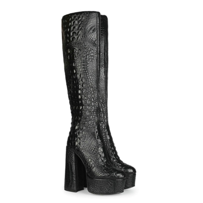 Woman Croc-effect Block Heels Platform Knee High Boots