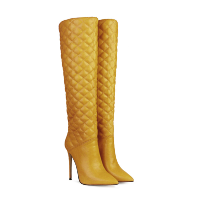 Woman's Quilted Stiletto Pointy Toe Knee High Boots
