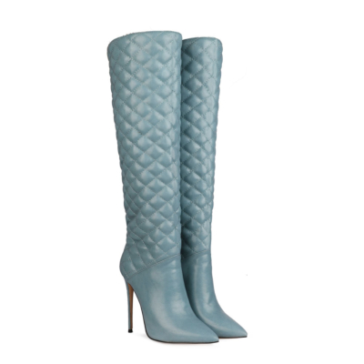 Blue Woman's Quilted Stiletto Pointy Toe Knee High Boots