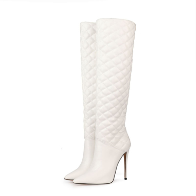 White Woman's Quilted Stiletto Pointy Toe Knee High Boots