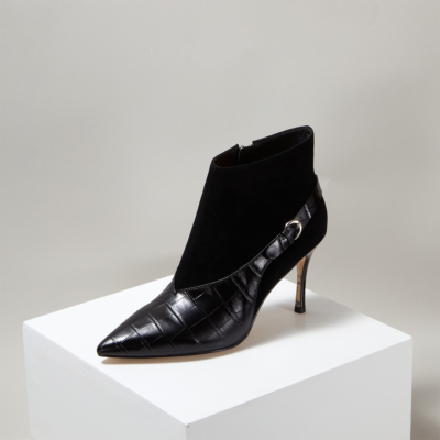 Woman Suede Leather Croc-effect High Heel Ankle Boots