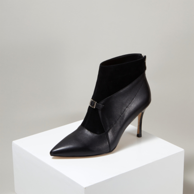 Black Suede Leather Zip Work High Heel Ankle Boots