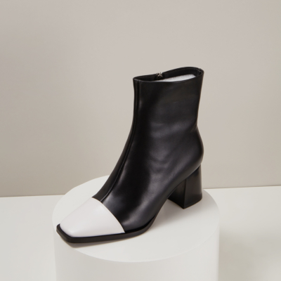 Women Leather Square Toe Block Heel Ankle Boot