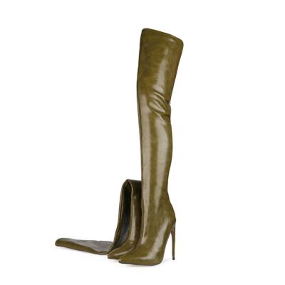 Olive Women's Back Zipper Thigh High Heel Boots Winter Boots