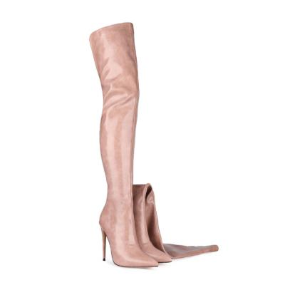 Pink Women's Back Zipper Thigh High Heel Boots Winter Boots