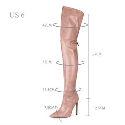 Women's Back Zipper Thigh High Heel Boots Winter Boots
