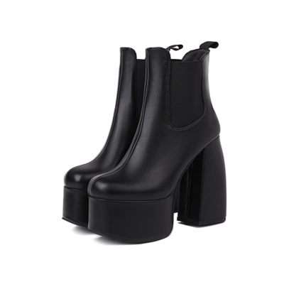 Plain Chunky Heel Ankle Boots Platform Chelsea Boots in Black