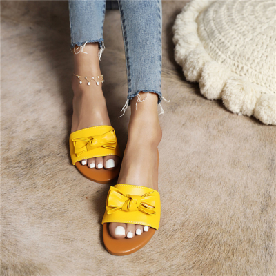Yellow Comfortable Slide Sandals Flats Beach Sandal with Bow