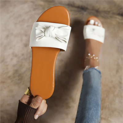 White Comfortable Slide Sandals Flats Beach Sandal with Bow