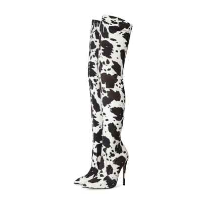Black&White Cow Print Boot Stiletto Heel Pointy Toe Thigh High Boots