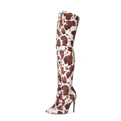 Cow Print Boots Stiletto Heel Thigh High Boots