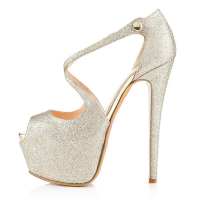 Glitter Criss Cross Platform High-Heel Pumps Peep Toe Sequined Sandals