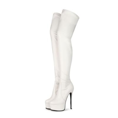 White Matte Women's Dance Platform Stiletto Stretch Thigh High Boots