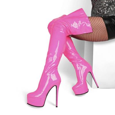 Neon Pink Zipper Platform Stiletto Stretch Thigh High Boots