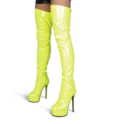 Neon Green Zipper Platform Stiletto Stretch Thigh High Boots