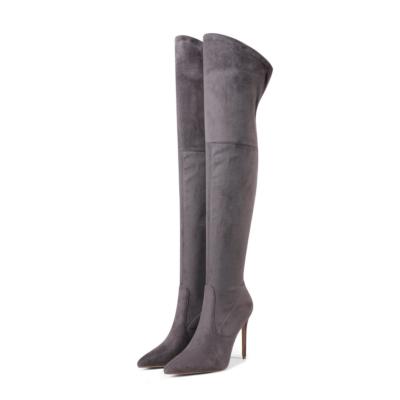 Grey Winter Mesh High Heel Long Boots Thigh High Boot