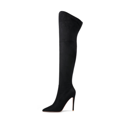 Black Women's Dress Pull-on Boots Stretch Over-The-Knee Boots