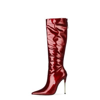 Burguny Dress Tall Boots 5