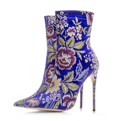 Royal Blue Women's Floral Embroidered Elastic Booties Sock Ankle Boots 5